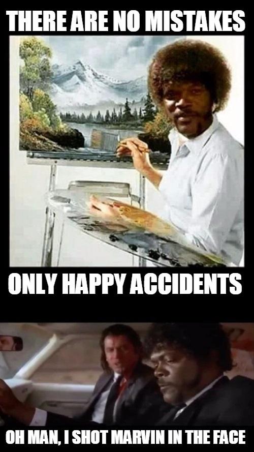 Happy Accidents Pulp Fiction Amp Bob Ross Meme L0go5